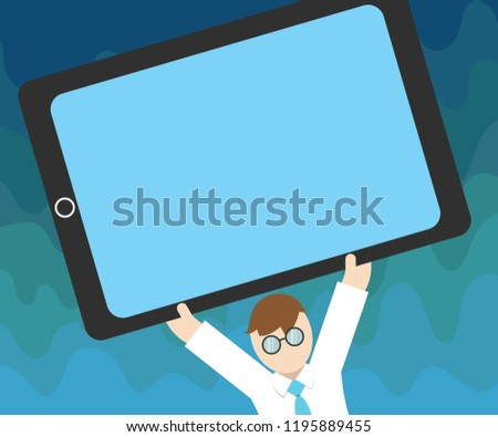 Flat design business Vector Illustration Empty copy space text for Ad website promotion esp isolated Banner template Man Wearing Tie Eyeglasses Arms Raising Upward Large Blank Screen Tablet