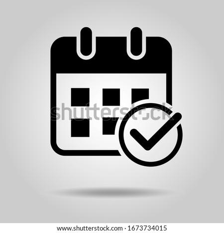 Flat design calendar icon (Add check mark)