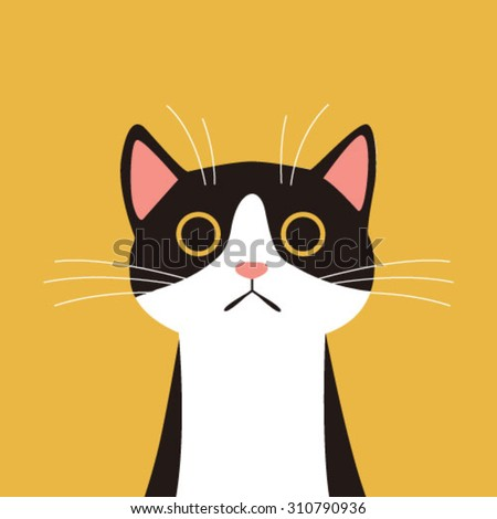 flat design  cat face with