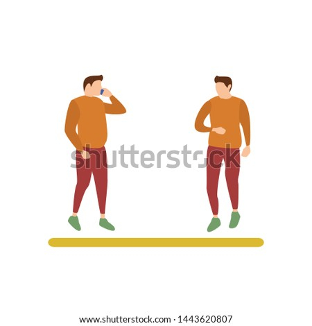 Flat Design Character of a Guy Calling and a Guy in a Hurry Looking His Watch, Human Activities Bus Stop