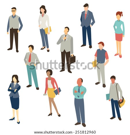 Flat design character of business people, man and woman, full length, isolated on white, bird-eye-view.