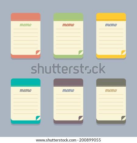 Flat Design Colorful Memo Vector Illustration