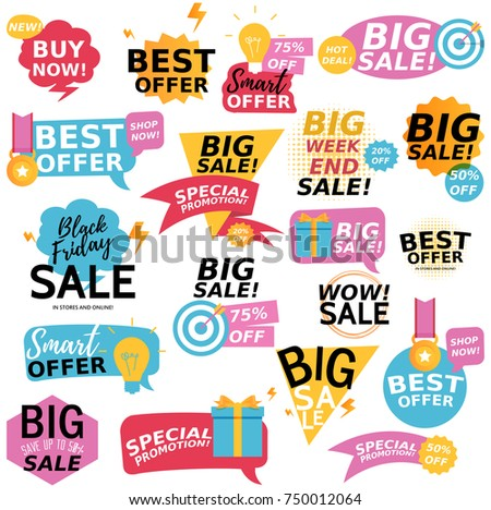 Flat design colorful sale stickers collection. Online shopping, sale and promotion, website and mobile badges, promo banners, special offer, shopping vector illustration design and marketing material