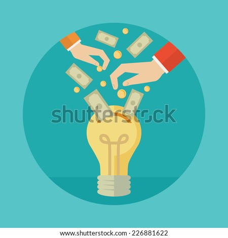 Flat design colorful vector illustration concept for crowdfunding investing into ideas isolated on bright background