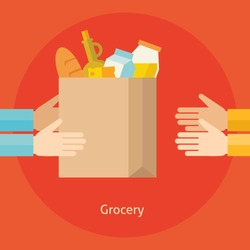 Flat design colorful vector illustration concept for grocery delivery isolated on bright background