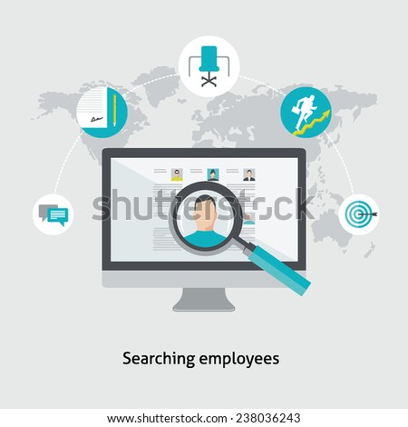 Flat design colorful vector illustration concept for human resource management, searching employees, selecting professional staff, analyzing personnel resume isolated on light background