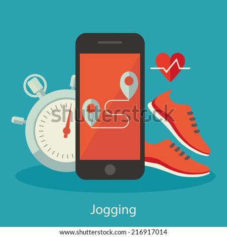 Flat design colorful vector illustration concept for jogging isolated on bright background