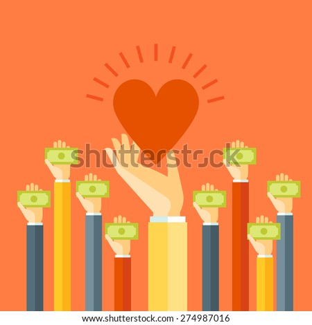 Flat design colorful vector illustration donating money, funding charity projects isolated on bright background