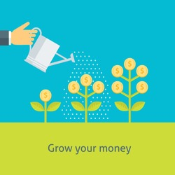 Flat design colorful vector illustration of a hand watering money plants, concept for making money, investment, getting profit, financial management isolated on light background