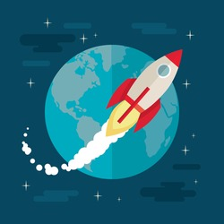 Flat design colorful vector illustration of flying rocket in space, concept for business startup, product launching on market isolated on stylish background