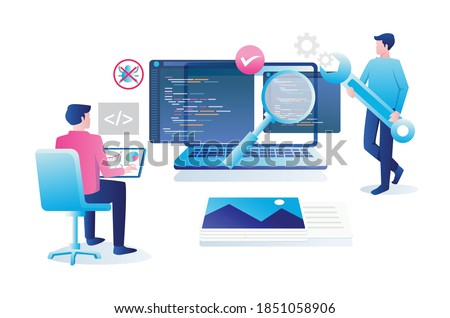 Flat design concept, a programmer is securing the system Сток-фото ©