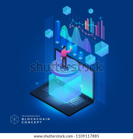 Flat design concept blockchain and cryptocurrency technology. Composition for layout design website banner. Isometric vector illustration.