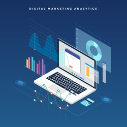 Flat design concept business strategy. 3d isometric flat design. Analysis data and Investment. Business success.Financial review with laptop and infographic elements. Vector illustration.