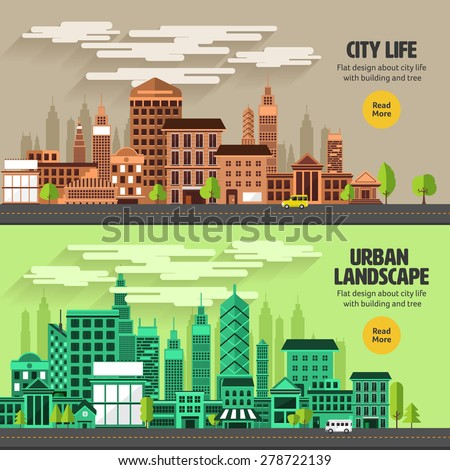 Flat design concept city landscape have sky, tree, road, and building.Vector illustrate.