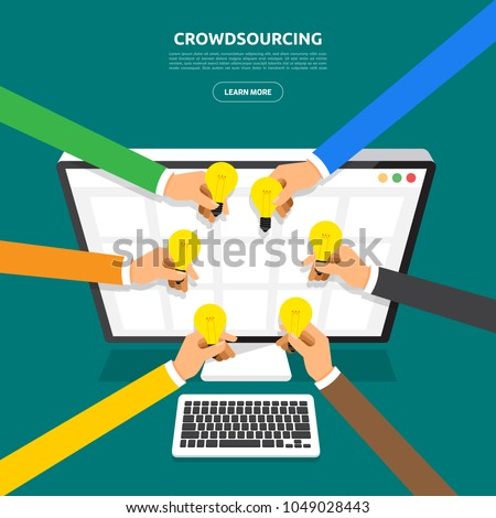 Flat design concept crowdsourcing. Vector illustrate.