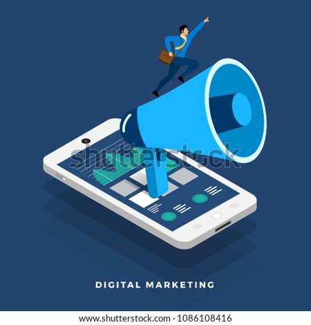 Flat design concept digital marketing advertising online platform analysis with graph , chart and infographic. Vector illustrations.