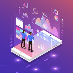 Flat design concept digital marketing analysis data information of customer with businessman and woman standing via computer. Vector illustrate.