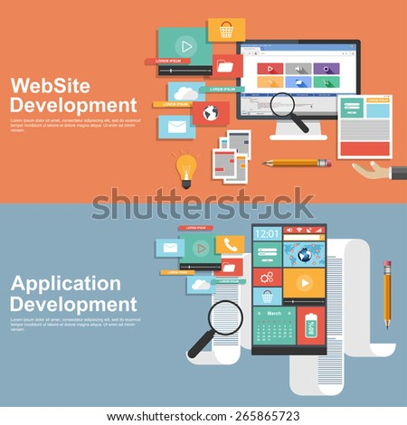 Flat design concept for development websites and apps #265865723