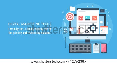 Flat design concept for Digital marketing tool, application, marketing technology vector banner with icons and texts