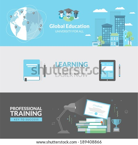 Flat design concept for education. Concepts for web banners and printed materials.