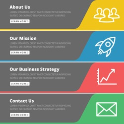 Flat design concept for website template - about us, our mission, business strategy, contact web banners or headers vector illustration