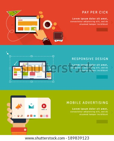 Flat Design Concept Icons and banners for pay per click, web design and mobile advertising #189839123
