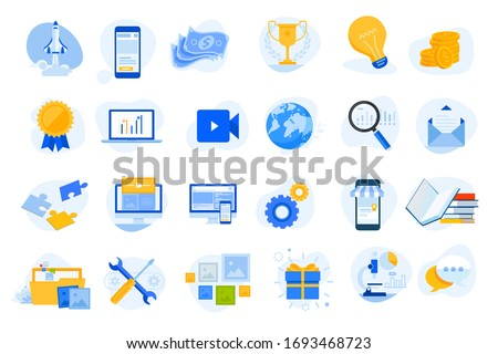 Flat design concept icons collection. Vector illustrations for startup, graphic and web design and development, app, finance, social media, business, marketing, m-commerce, education.