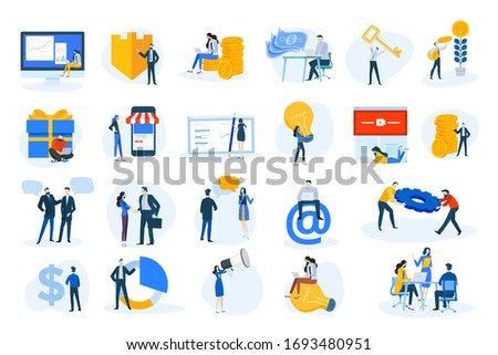 Flat design concept icons collection. Vector illustrations of business and finance, marketing, m-commerce, social media, communication. Icons for graphic and web designs, marketing material.