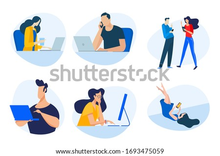 Flat design concept icons collection. Vector illustrations of businessmen, people in the office, communication, use of digital media, networking. Icons for graphic and web designs, marketing material.