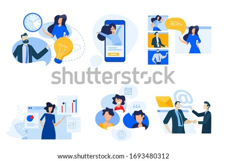Flat design concept icons collection. Vector illustrations of conference call, social media, video streaming, business apps, time and project management. Icons for graphic and web designs, marketing m