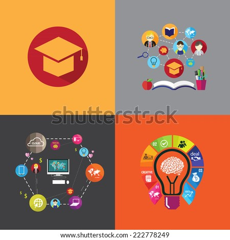 flat design concept icons for education. Icons for education for all, distance education, training and tutorials