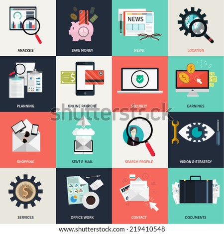 Flat design concept icons for networking, online education, business, e commerce, payments. Symbols for websites,prints,presentations,promotional and infographics elements, digital services and apps.