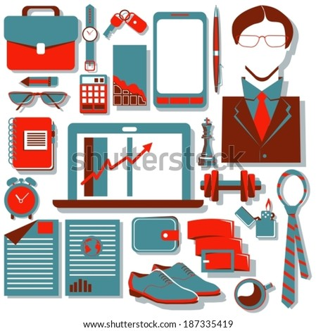 Flat design concept icons of Modern businessman, good for web and mobile services and apps design, seo, social media or internet advertising, VECTOR