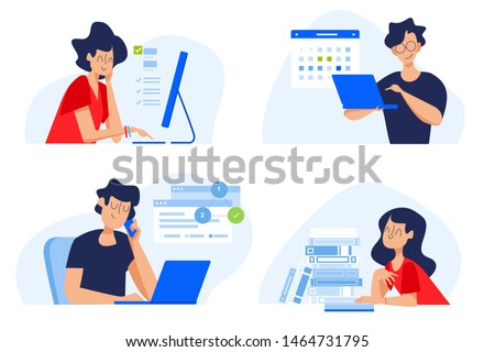 Flat design concept of distance education, online courses, e-learning, tutorials, apps. Vector illustration for website banner, marketing material, presentation template, online advertising.