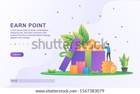 Flat design concept of Earn Point. People get points from online shopping, collecting points to exchange for shopping vouchers. Can use for web landing page, marketing material, mobile app, web banner