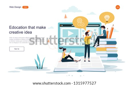 Flat design concept of education.Education and learning that creates creative ideas,training courses.Vector illustration.