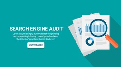 Flat design concept of marketing report analysis, search engine audit, big data analytics vector isolated on green background