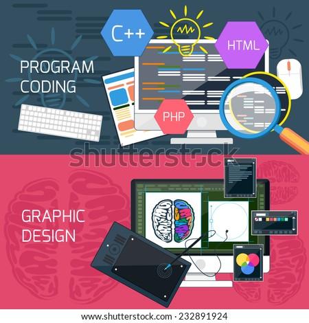 Flat design concept of program coding and graphic design