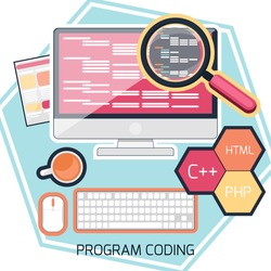 Flat design concept of program coding computer