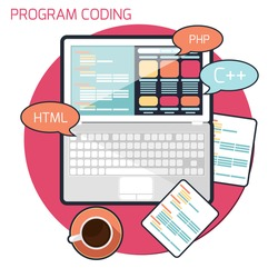 Flat design concept of program coding laptop