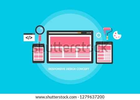 Flat design concept of Responsive website. template, mobile and desktop version vector banner #1279637200