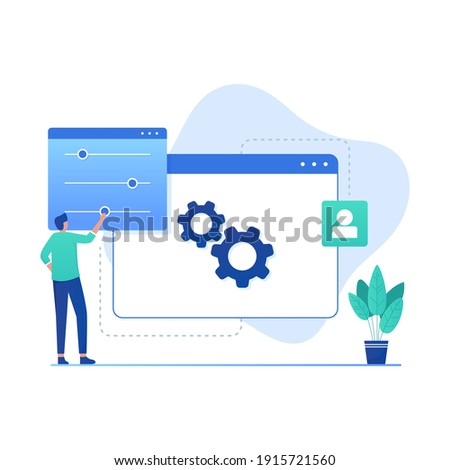 Flat design concept of setting. Illustration for websites, landing pages, mobile applications, posters and banners Photo stock ©