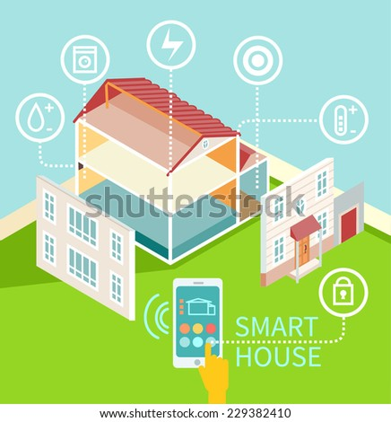 Flat design concept of smart house technology with centralized control. Isometric house with its parts isolated. Vector illustration