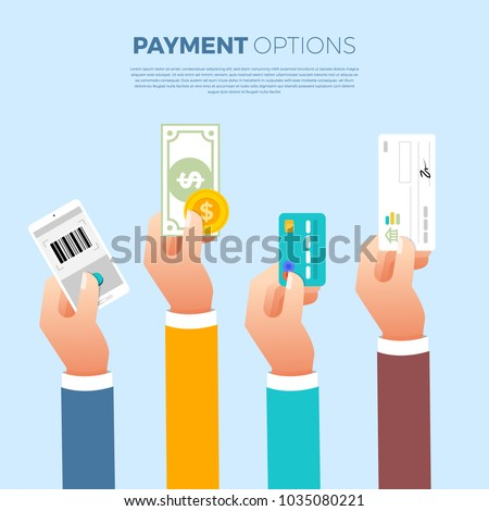 Flat design concept payment. Payment method and option or channel to transfer money. Vector illustrate.