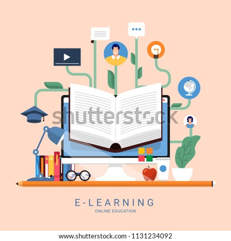Flat design concept people education online knowledge witgh e-learning program. Vector illustrations.