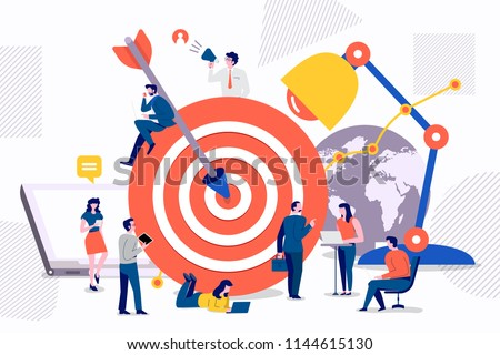 Flat design concept teamwork to build organizational success By setting the right marketing target. Vector illustrations.