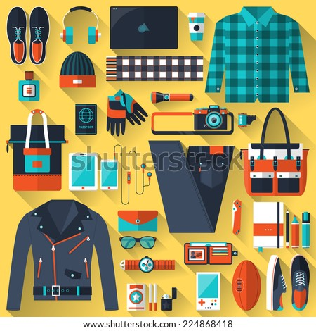 Flat design concept vector illustration of every day carry and outfit accessories, things, tools, devices, essentials, equipment, objects, items. Icons collection in stylish colors. Clothes