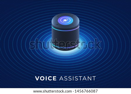 Flat design concept voice assistant internet o]f things. control device with speak to device. modern graphic design. Isometric vector illustrate.