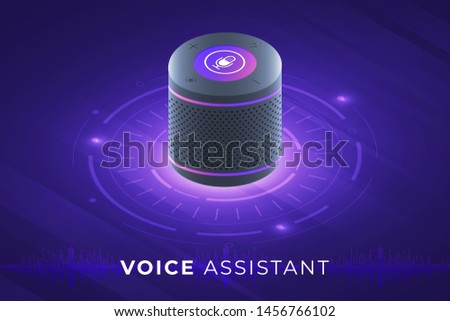 Flat design concept voice assistant internet of things. control device with speak to device. modern graphic design. Isometric vector illustrate.