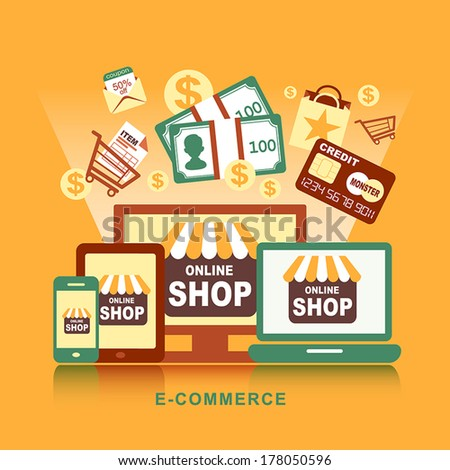 Flat design concept with icons of buying product via online shop and e-commerce ideas symbol and shopping elements